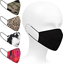 Safety Smile 5-Pack Designer Fashion Prints Unisex Washable and Reusable 100% Cotton Protective Face Covering - with Slot for Filter - Ideal for Teens and Adults - Fits most Faces