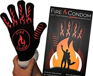 Fire Condom - Heat Resistant Glove - 932 Degrees - BBQ/Weddings/Parties - Hilarious Box and Included Instructions - Practical Gag Gift