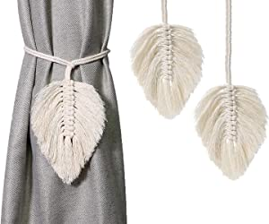 Turbokey Curtain Hand-Knitted Cord Tiebacks Decorative Curtain Holdbacks Tassels for Light Curtains or Screens,for Baby Nursery Room Girl's Bedroom Window Drapes Wedding Birthday Party (White)
