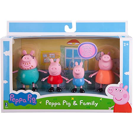 Xygzag Pig Family Toy, Set of 4 with Pig House Set, Animated Toys for Children for Pretend Play