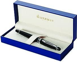 Waterman Expert Fountain Pen, Gloss Black with Chrome Trim, Medium Nib with Blue Ink Cartridge, Gift Box
