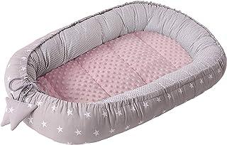 Babynest Kuschelnest Babynestchen 100% Baumwolle Nestchen Reisebett für Babys Säuglinge Medi Partners 90x50x13cm herausnehmbarer Einsatz graue Sternen mit hellrosa Minky