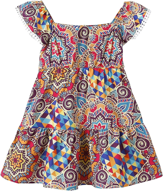 Toddler Girl Dress Bohemia Button Lace Sleeveless Sunflower Floral Princess Toddler Girl Summer Clothes