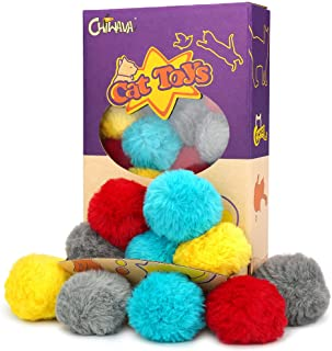 """Chiwava 24PCS 1.8"""" Catnip Furry Cat Toys Ball Soft Pom Pom Balls Kitten Chase Quiet Play Assorted Color"""