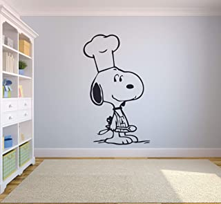 Snoopy Wall Decals for Kids Bedroom/Snoopy Dog Boys Room Decor/Vinyl Art Stickers Decal Childrens Rooms/The Peanuts Movie Cartoon Character Fun Look Dogs Snoopy Chef Cooking - Size (10x6 inch)