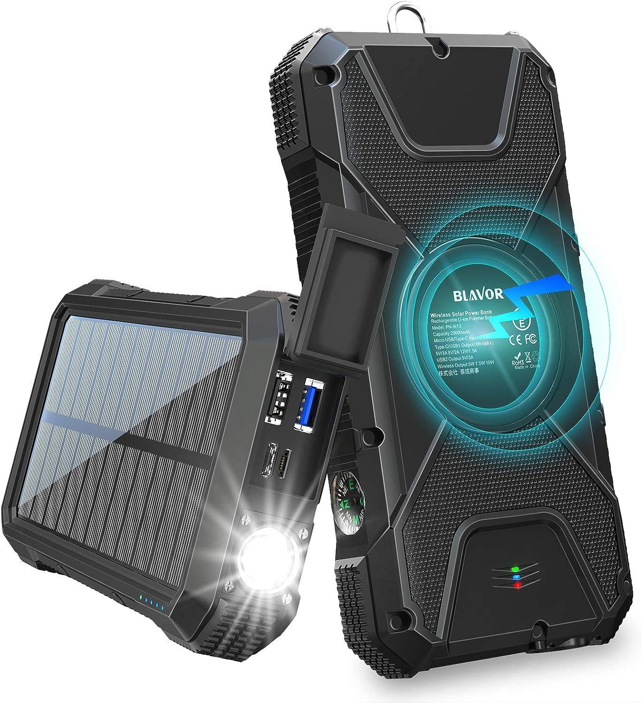 BLAVOR Solar Charger Power Bank 18W, QC 3.0 Portable Wireless Black