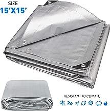 EasyGoProdcuts EGP-Tarp-005 Hercules Tent Shelter Cover Waterproof Tarpaulin Plastic Tarp Protection Sheet for Con (15x15-Sliver)