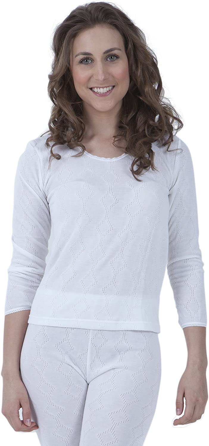 Ladies Thermal Underwear Long Sleeve T Shirt (British Made) (Bust Fit: 42-44inch (16-18)) (White)