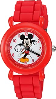 DISNEY Boys' Mickey Mouse Analog-Quartz Watch with Silicone Strap, red, 16 (Model: WDS000013