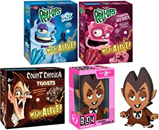 Morning Monster Crunch! Vinyl Count Chocula Figure Bundled with Fruit Roll Boo-Berry & Franken Berry + Count Chocula Chocolate Cereal Bar with Marshmallows Character Breakfast Retro Fun Pack 4 Items