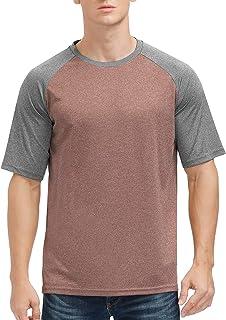 Mens Soft Short Sleeve Baseball Running T Shirt Quick Dry Sun Protection Athletic Workout Tranning Shirts