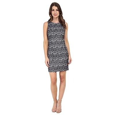 Jessica Simpson Lace Sheath Dress (Navy/Ivory) Women