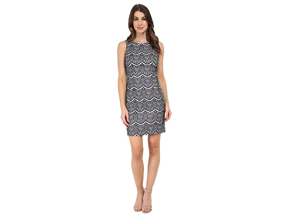 Jessica Simpson Lace Sheath Dress (Navy/Ivory) Women
