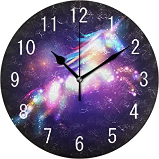 ALAZA Home Decor Magic Unicorn Galaxy Nebula 9.5 inch Round Acrylic Wall Clock Non Ticking Silent Clock Art for Living Roo...