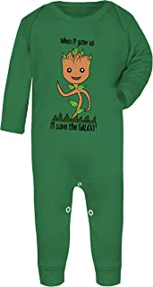 Colour Fashion Baby Groot I'll Save The Galaxy! Baby Footed Pajamas Hypoallergenic Certified