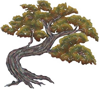 NOVICA Leaf and Tree Large Steel Wall Mural, Brown and Green, Bonsai'
