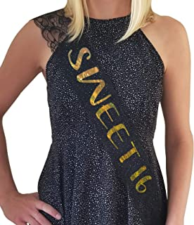 Sweet 16 Lace Sash - 16th Birthday Sash - Birthday Party Favor, Party Supplies Decorations (Black and Gold)