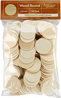 Artlicious - 125 Unfinished Wooden Round Circle Cutouts - 1.5