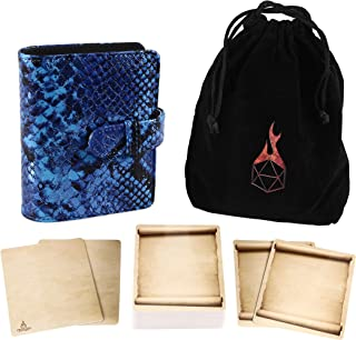 Forged Dice Co Spellbook of Incantations (Mystical Dragon Skin Edition) Spellbook Card Holder & Deck of Dry Erase Cards with Velvet Storage Bag - Storage for D&D Spell Book Monster Magic Item Cards