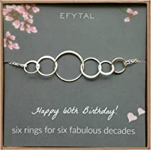 EFYTAL 60th Birthday Gifts for Women, Sterling Silver Six Circle Bracelet for Her, 6 Decade Jewelry 60 Years Old