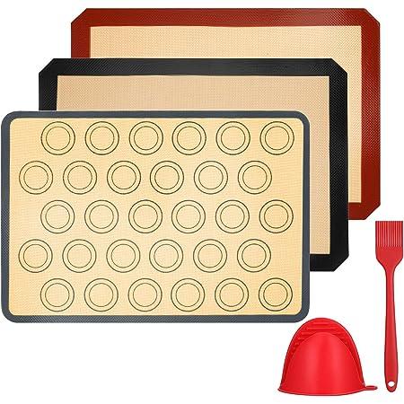 Vemingo Tapis de Cuisson en Silicone,3 Pièces sans BPA Anti-Adhérent Toile Feuille de Cuisson Patisserie,Inclure Gant de Cuisine et Brosse en Silicone, Réutilisable, Facilement Lavabet(40 * 30)
