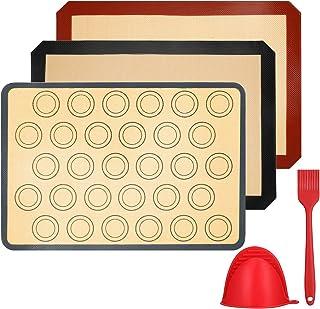 Vemingo Tapis de Cuisson en Silicone,3 Pièces sans BPA Anti-Adhérent Toile Feuille de Cuisson Patisserie,Inclure Gant de C...