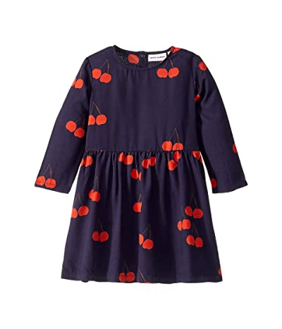 mini rodini Cherry Woven Long Sleeve Dress (Infant/Toddler/Little Kids/Big Kids) (Blue) Girl