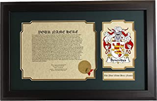 Benevides - Coat of Arms and Last Name History, 14x22 Inches Matted and Framed