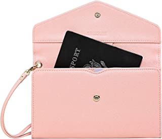 Krosslon Rfid Travel Passport Wallet for Women Slim Tri-fold Holder Wristlet Document Organizer
