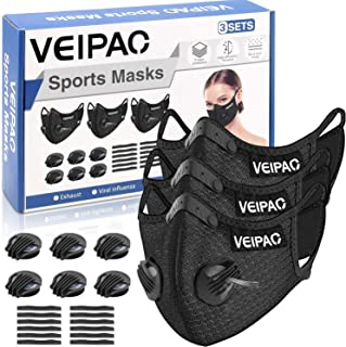 VEIPAO 3 Set Sports Mask Running Mouth Cover with Activated Carbon Filter, 6 Breathing Valve, 12 Soft Foam Padding for Run...