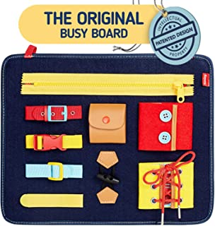 Toddler Busy Board - Montessori Basic Skills Activity Board for Fine Motor Skills & Learn to Dress - Educational Learning ...