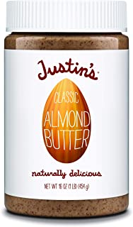 Justin's Classic Almond Butter, Only Two Ingredients, No Stir, Gluten-free, Non-GMO, Keto-friendly, Responsibly Sourced, 16 Ounce Jar, Pack of 1