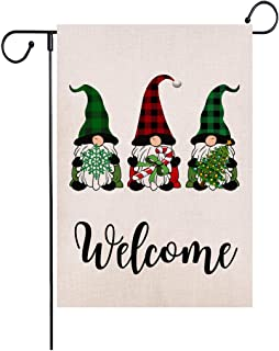 Wencal Welcome Christmas Gnomes Garden Flag Xmas Candy Cane Snowflake Tree Double Sided Farmhouse Outdoor Decoration 12.5 x 18 Inches