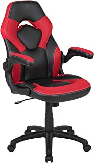 Flash Furniture X10 Gaming Chair Racing Office Ergonomic Computer PC Adjustable Swivel Chair with Flip-up Arms, Red/Black LeatherSoft -