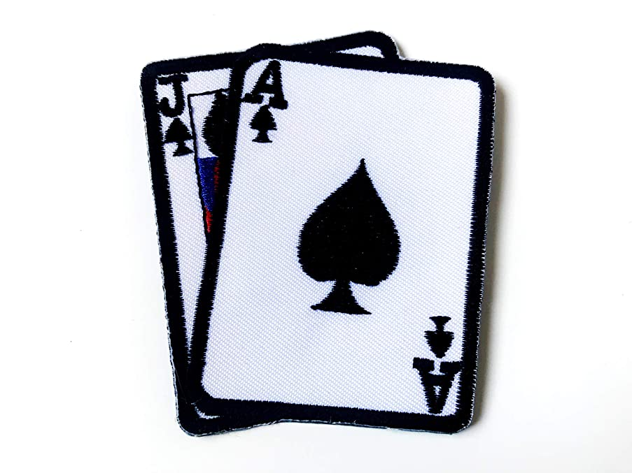 Tyga_Thai Brand Blackjack Gamble Playing Card Game Lucky Vest Jacket T-Shirt Sew on Iron on Embroidered Applique Badge Sign Patch (Iron-Blackjack-Card)