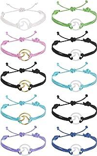 LOLIAS 10 Pcs Bohemian Wave Bracelet Set for Women Wax Coated Braided Rope Bracelets Waterproof Handmade Vsco Bracelets Be...