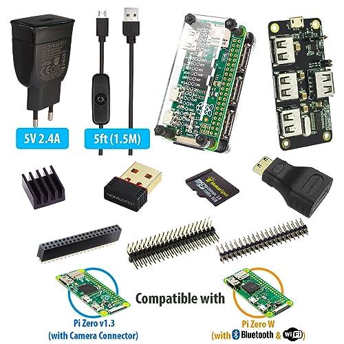 MakerSpot Hub USB empilable à 4 ports HAT pour Raspberry Pi Zero W V1.3 avec protecteur, alimentation 2,4 A, câble Micro USB 1,5 m avec interrupteur marche / arrêt, Dongle WiFi, carte MicroSD 8 Go, embases à broches, adaptateur HDMI