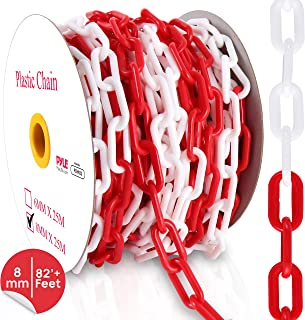 Safety Barrier Chain Links - 82' Ft Caution Security Chain Link Barriers-Crowd Control, Door/Driveway/Garage Kids Safety Blocker, Halloween Accessories/Decorations/Bird Toy - Pyle PCHN32 (8mm)
