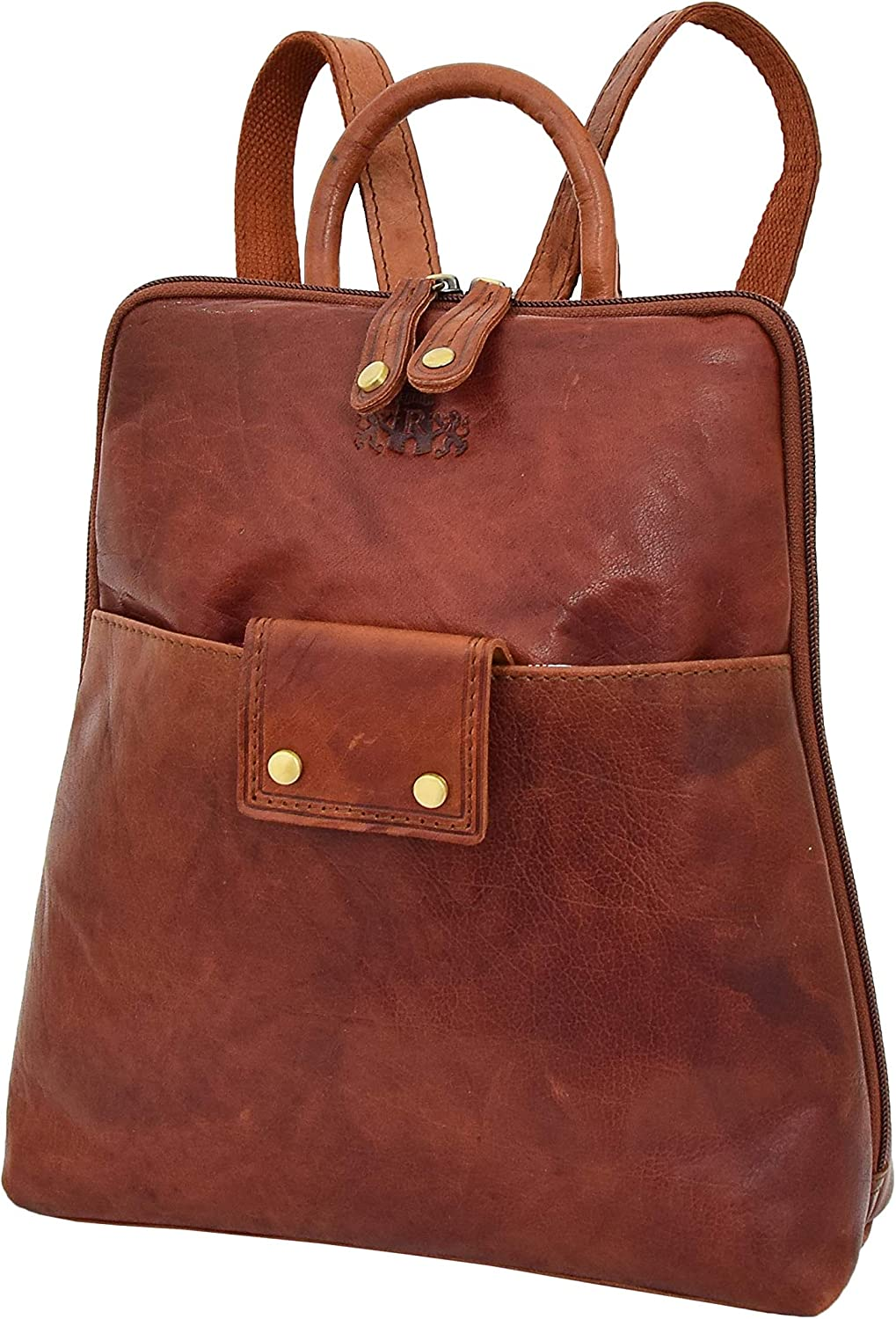 A1 FASHION GOODS Womens Backpack Cognac Leather Rucksack Casual Travel Office Organiser Bag - Evie