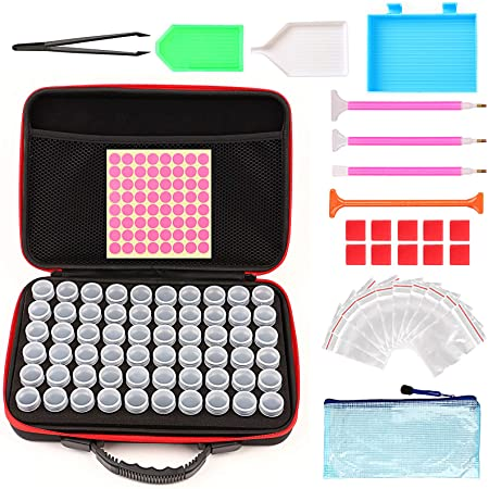 Trays Diamond Embroidery Box Containers for 5D Diamond Painting Art Craft Accessories 60 Grip Diamond Painting Tool Case Storage Container Jars Straightener Tweezers Clips- Black