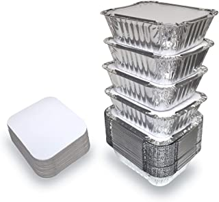 55 PACK - 1LB Aluminum Foil Pan Containers with Lids Take Out Pans Food Containers Disposable Easy Pack From Spare – 1Lb C...