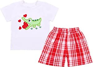 Babeeni Boy Short Sets Featured with Truck /& Heart Applique Pattern on The Chest White Knit Top and Turquoise Plain Bottom