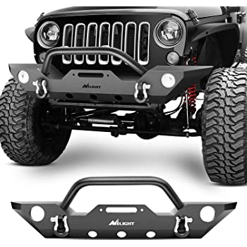 Nilight Front Bumper Compatible for 07-18 Jeep Wrangler JK Rock Crawler Off Roadwith With Fog Lights Hole, Winch Plate & 2 x D-rings, Upgraded Textured Black,2 years Warranty