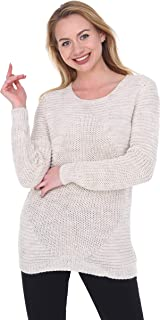 Women's Pullover Knit Sweater Casual Long Sleeve Crewneck Wool