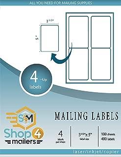 Shop4Mailers 4 张装白色发货标签 8.89 cm x 12.70 cm 500 片 白色