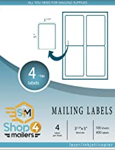Shop4Mailers 4-Up White Shipping Labels 3 1/2
