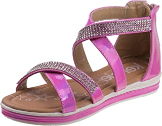 15e0621ce72 Kensie Girl Girls Metallic Rhinestone Double Strap Closed Heel Sandal  (Little Kid Big Kid
