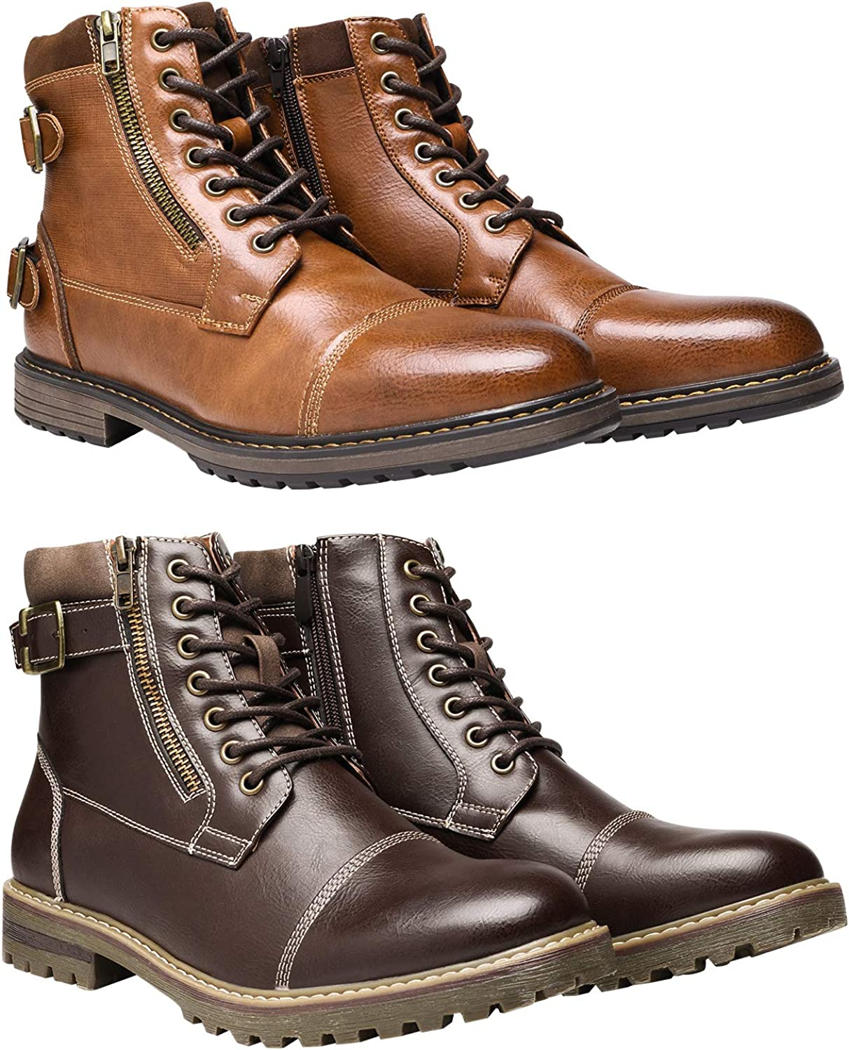 Bruno Marc Men's Motorcycle Boots Bundle with Men's Oxford Boots Size 12