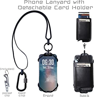 Universal Cell Phone Lanyard Holder with Automatic Pop Up Credit Card Holder, Silicone Neck Strap Smartphone Case for iPhone 11 Xs Max XR X 8 7 6S Plus Samsung Galaxy S10 S9 S8 Note 9 Pixel 3 XL, Blk