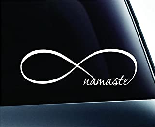 ExpressDecor Infinity Namaste Symbol Decal Funny Car Truck Sticker Window (White)